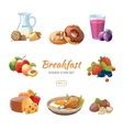 Cartoon breakfast food icons set vector image vector image