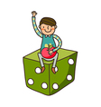 Close-up of boy sitting on dice vector image