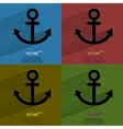 Color set Anchor Flat modern web button with long vector image vector image
