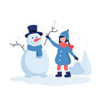 cute girl making a snowman in vector image