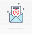 envelope with rejected document thin line icon vector image vector image
