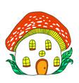 fairytale house mushroom amanita vector image vector image