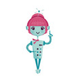 female cartoon robot vector image