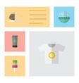 flat icon season set of surfing moisturizer vector image vector image