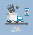 free delivery concept in flat style - truck with vector image