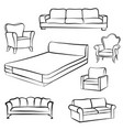 furniture set room interior decor armchair bed vector image