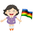 Girl carrying flag for sport event vector image