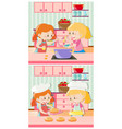 girls cooking and baking in kitchen vector image vector image