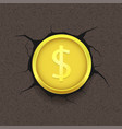 golden dollar on cracked background vector image vector image