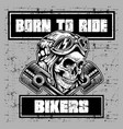 grunge style vintage skull wearing helmet retro vector image vector image