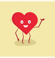 happy heart character with hand up vector image