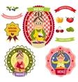 Healthy Food Menu Colorful Labels vector image