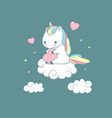 inspiration baunicorn on cloud love print vector image