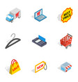internet shopping icons isometric 3d style vector image vector image