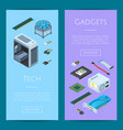 isometric electronic devices vertical web vector image