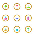 lamps icons set cartoon style vector image vector image