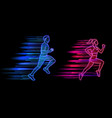 man and woman running neon light style jogging vector image vector image