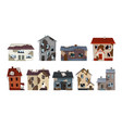 old weathered houses and dwellings collection vector image