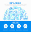 people and users concept in half circle vector image