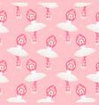 pink monkey ballerina dance seamless vector image