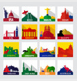 popular sightseeing spots in the world icons vector image