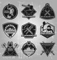premium blacksmith emblems set vector image vector image