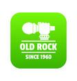 retro rock music icon green vector image vector image