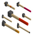 set of different hammers in 3d vector image