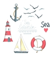 Set of nautical objects vector image vector image