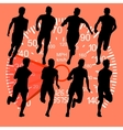 Set of silhouettes Runners on sprint men against vector image vector image