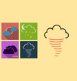 set of weather icons in flat style with shadow vector image