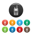 talkie radio icons set color vector image vector image