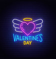 valentines day neon text happy valentines day vector image vector image