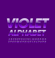 violet alphabet letters and numbers glossy vector image