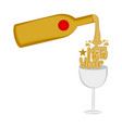 wine bottle and a glass happy new year vector image vector image