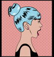 woman with blue hair pop art style vector image vector image