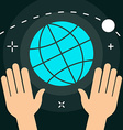 World with Hands Flat Minimal Style Colorful Icon vector image vector image