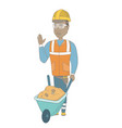 young african builder standing near wheelbarrow vector image vector image