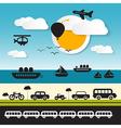Transportation Icons on Landscape Background vector image