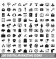 100 digital marketing icons set simple style vector image vector image