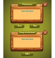 a set wooden windows user interface with ok vector image vector image