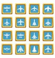airplane top view icons set sapphirine square vector image