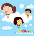 balloons with children head in the sky vector image vector image