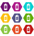 battery icons set 9 vector image vector image