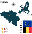 Belgium and European Union map vector image