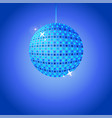 blue disco ball with glowing dots and lights vector image