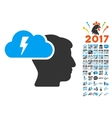 Brainstorming Icon With 2017 Year Bonus Pictograms vector image vector image