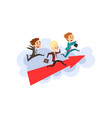 businessmen running together on big arrow in vector image