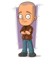 Cartoon bold boy in brown jacket and jeans vector image vector image