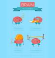 cartoon brain activities poster vector image vector image